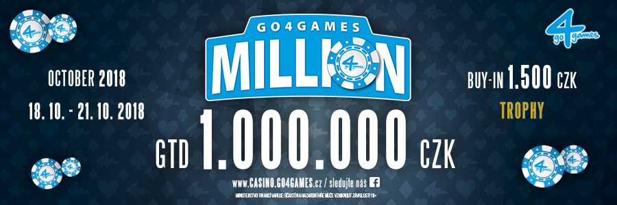 Poker turnaj Go4games Million se vrací do Casino Go4games Hodolany