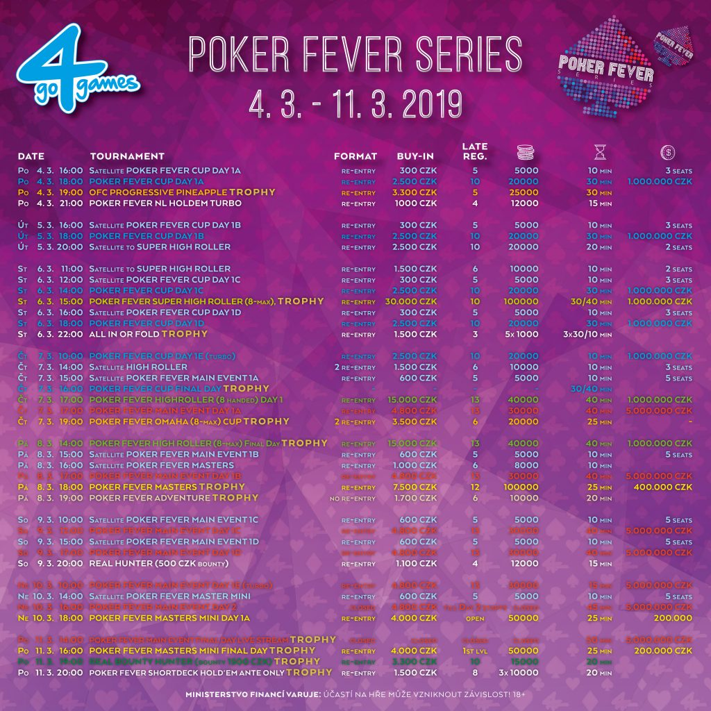 Turnajový program Poker Fever Series březen 2019